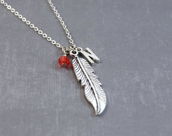 Silver Feather Necklace - Personalized Birthstone Necklace - Silver Feather Pendant - Nature Necklace - Bird Jewelry - Wing Pendant