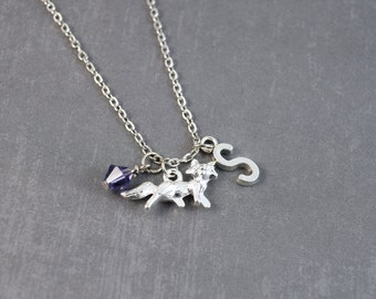 Silver Fox Necklace, Fox Pendant, Birthstone Necklace, Fox Jewelry, Personalized Initial Necklace, Woodland Necklace, Birthstone Jewelry