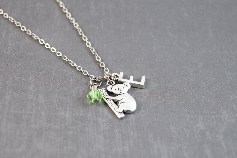 koala necklace peridot necklace personalized birthstone