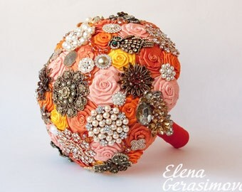 Brooch Bouquet. Orange Autumn Fabric Bouquet, Unique Wedding Bridal Bouquet