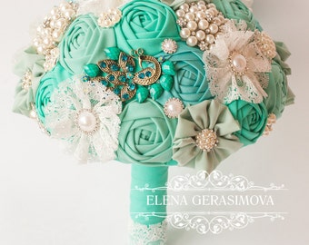 Brooch Bouquet. ivory blue mint Fabric Bouquet, Unique Wedding Bridal Bouquet