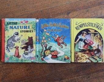 Set of 3 Vintage Children's Books - Little Folk's Fables from AESOP, Rumpelstiltskin & Little Nature Stories (The Little Color Classics)