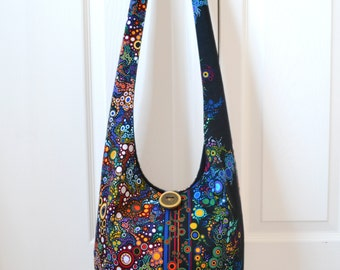MADE TO ORDER Hobo Bag Boho Bag Sling Bag Hippie Bag Crossbody Bag Bohemian Purse Slouch Bag Hippie Purse Hobo Purse Bubbles Effervescence