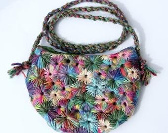 Rainbow Hand Embroidered Purse / Bag by PingWynny
