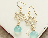 Aqua Chalcedony & Gold Knot Earrings, Celtic Knot in Matte Gold, Wedding Gemstone Jewelry, Something Blue