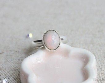 Ethiopian Opal Sterling Silver Ring, October Birthstone Ring