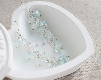 Long Crystal Earrings, Cluster Bridal Earrings, Long Wedding Earrings, Something Blue, Jewelry, Statement Earrings