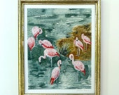 Pink Flamingo Art - Print of Original Painting - Dark Green Background - 8x10 wall art