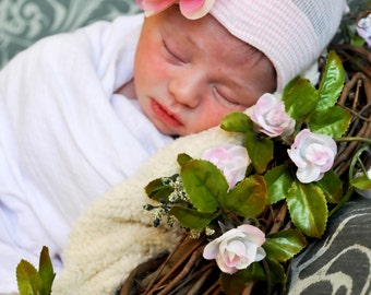 First Bow Newborn Hospital Hat 2 tone Flower Center (newborn girl hat, newborn beanie, newborn hospital hat with bow, first bow)