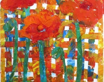 Poppy Collage, Vivid, Bright, Modern Home, Office, Dining, Kitchen  Decor - Original Acrylic Painting - FREE SHIPPING -  Artist Ricky Martin
