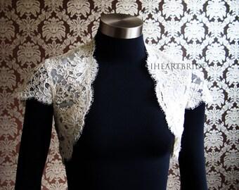 Designer Alencon Lace Bridal Bolero French lace Cap Sleeves Bolero Shrug by IHeartBride Style Eliya Cap Sleeve - Custom Bolero Designer