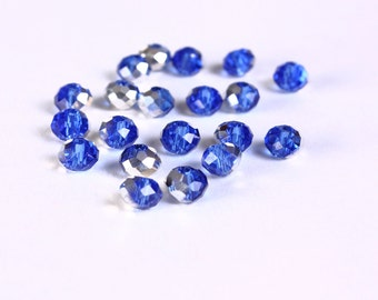 6mm x 4mm blue and mirror silver glass bead - 20 pieces (1415) - Flat rate shipping