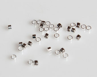 CrS - 2mm x 2mm Silver Plated Crimp Tubes - 100 Pieces