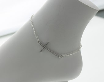 Cross with Rhinestone Ankle Bracelet, sterling mini link chain (AHC)