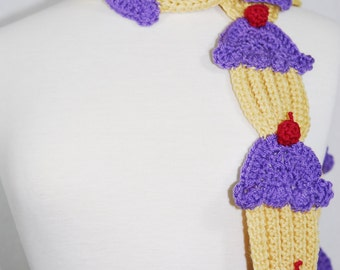Lavender Cupcake Scarf- Women Scarf-Women Accessories-Neck Warmer-Kawaii-Crochet Scarf