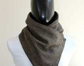 Mens winter. Mens cowl scarf. Chunky scarf. Black and brown herringbone wool with metalic snaps . Chunky  and cozy. Cowl scarf. Gift for her