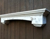Curved floating wall shelf with corbels - Distressed wall shelf