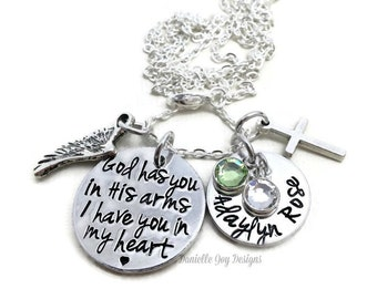 Stamped Jewelry Personalized Jewelry - God Has You In His Arms I Have You In My Heart Loss Memorial Remembrance Miscarriage Necklace