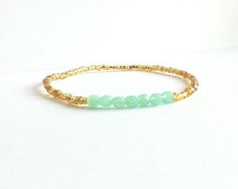 Aqua Gold Beaded Bracelet, Aqua Bracelet, Thin Bracelet, Beaded Friendship Bracelet, Best Friend Birthday Gift, Gift Under 15