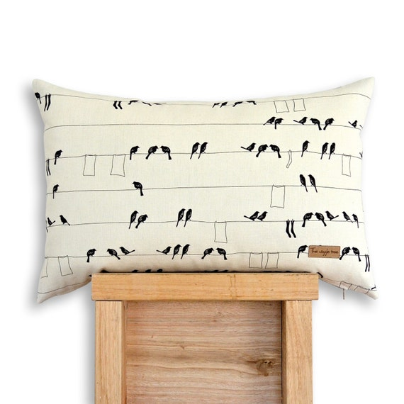 Laundry Birds - Screen printed Organic cotton cushion cover in Black.