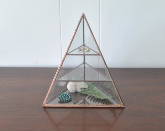 Lyra Pyramid Display Box - glass pyramid - jewelry box - hinged - silver or copper - eco friendly