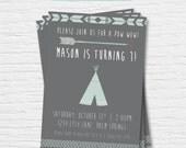 Teepee Pow Wow Birthday Invitation- 5x7 - Arrow - Tribal - First Birthday - Digital Printable File - Cardstock