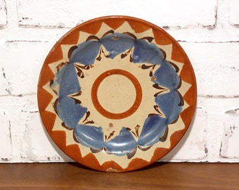 Vintage Mexican Clay Plate Saucer with Crackle Finish