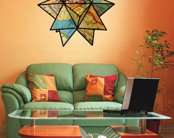 Map origami star wall decal- united states map- colorful-  fabric wall decal