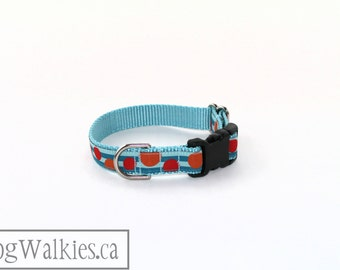 """Blue Stripes and fun Bubbles - Dog Collar - 3/4"""" Wide (19mm) - Martingale or Side Release - Choice of style & size // Red // Orange // Blue"""