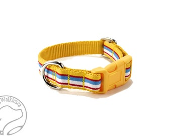 """Yellow Preppy Stripes Dog Collar - 3/4"""" (19mm) Wide - Choice of collar style and size - Martingale Dog Collars or Quick Release Buckle"""