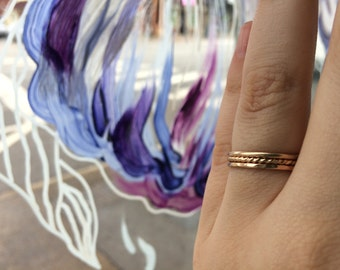 Tri-Texture Set of 3 16g Thick 14k Yellow Gold Fill Stacking Rings - custom made to order
