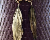 Black, Gold and Feather Earrings