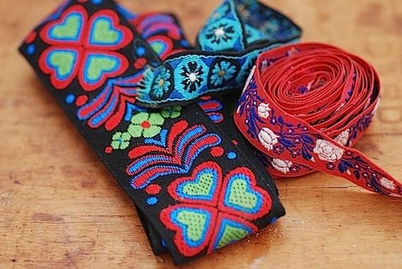 Antique Embroidered  Mid Century Sewing Trim,Antique Textiles, Unique Decorative Trim, Bohemian Chic Tribal Fabric Trim, Christmas WIFE Gift
