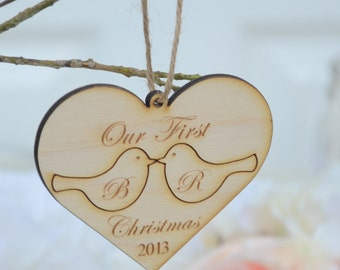 Our first christmas ornament -love birds-wood ornament