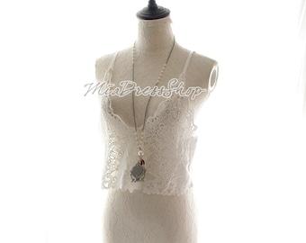 Marie Antoinette Victorian Sheer Lace Camisole Tank Crop Top Blouse Layer Layering Black White –Hippie Beach Coverup Romantic Lingerie Slip