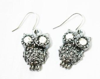 Shiny Owl Silver Earrings, Owl Earrings, Owl Silver Jewelry, Little Owl Earrings, Bird Earrings, Owl Dangle Earrings, Black Owl Earrings