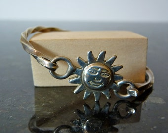 SALE Vintage Silver Sun Face Bracelet with Twisted Band