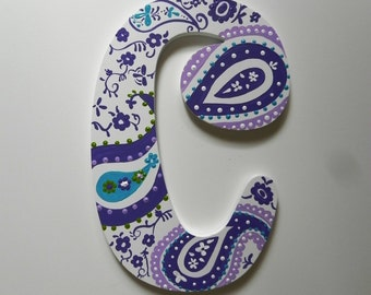 Custom Hand Painted Paisley Letter to match Room Decor