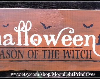 Halloween, Season Of The Witch, Black Cats, Witch, Wicca, Wiccan, Wooden Signs