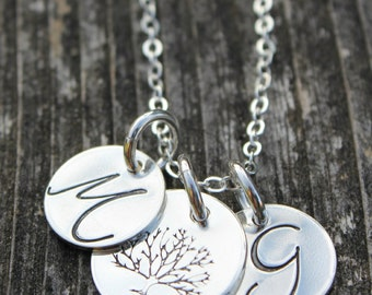 Tree of Life with Initial Charms // Sterling Silver