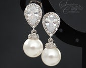 Bridal Pearl Earrings Wedding Jewelry Swarovski Pearls Cubic Zirconia Teardrop Bridesmaid Gift White Ivory/Cream Round Dangle