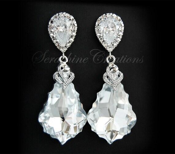 Wedding Jewelry Bridal Earrings Swarovski Baroque Crystal Cubic Zirconia Wedding Earrings CAL Silver Dangle Teardrop Vintage Statement