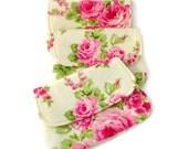 Bridesmaid Clutch Purse, Pink Rose on Cream Background, Bridesmaids Gift, Wedding, Prom