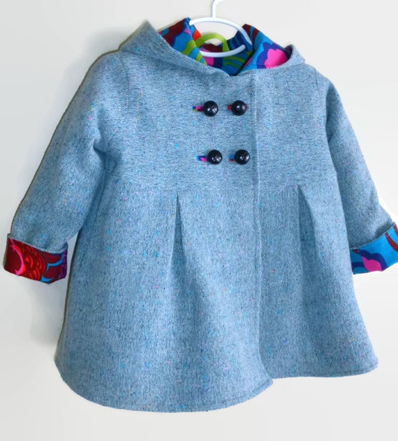 Toddler Girls Winter Swing Coat in Corduroy Wool or Tweed