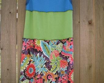 Tropical Color Block Tank Dress/ Eco Hawaiian Kitsch Dress/ Colorful Funky Stretch  Knit Dress M/L