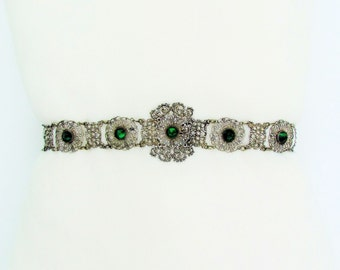 Antique silver filigree belt with emerald green Vauxhall glass stones, 1800's woman's belt, ornate Victorian belt
