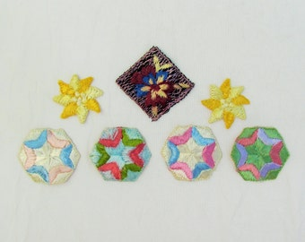 Vintage small appliques, lot of 7 floral and hexagonal appliques