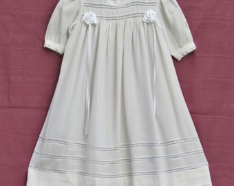 Vintage girl's dress and slip, 1930's ivory rayon crape little girl's dress and matching slip
