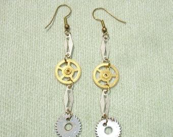 Steampunk It Gears Dangle Earrings - Handmade Jewelry