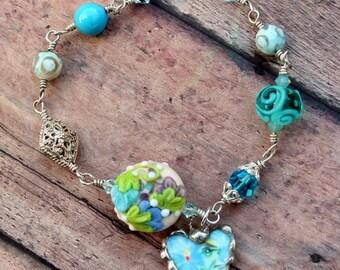 Bracelet, Broken China Jewelry, Broken China Bracelet, Heart Charm, Handmade Lampwork Beads, Turquoise Floral Chintz, Sterling Silver